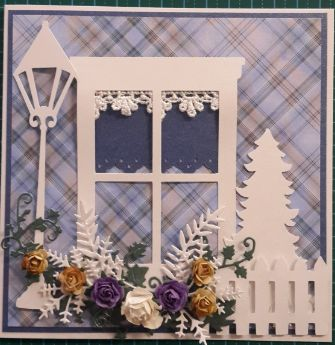 038_S14_Window, Lamp Post, Christmas Tree and Flowers with Fence.  Handmade by Diane Prinsloo (Lubbe).