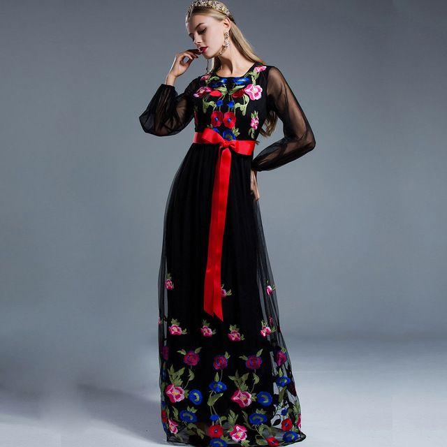 Luxury new arrival 2017 wiosna lato damska o neck długie lantern rękawy kwiatowy haft sash belt elegancka maxi runway dress