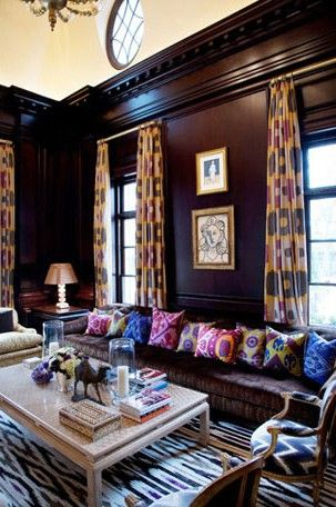 Dark living room with ikat curtains