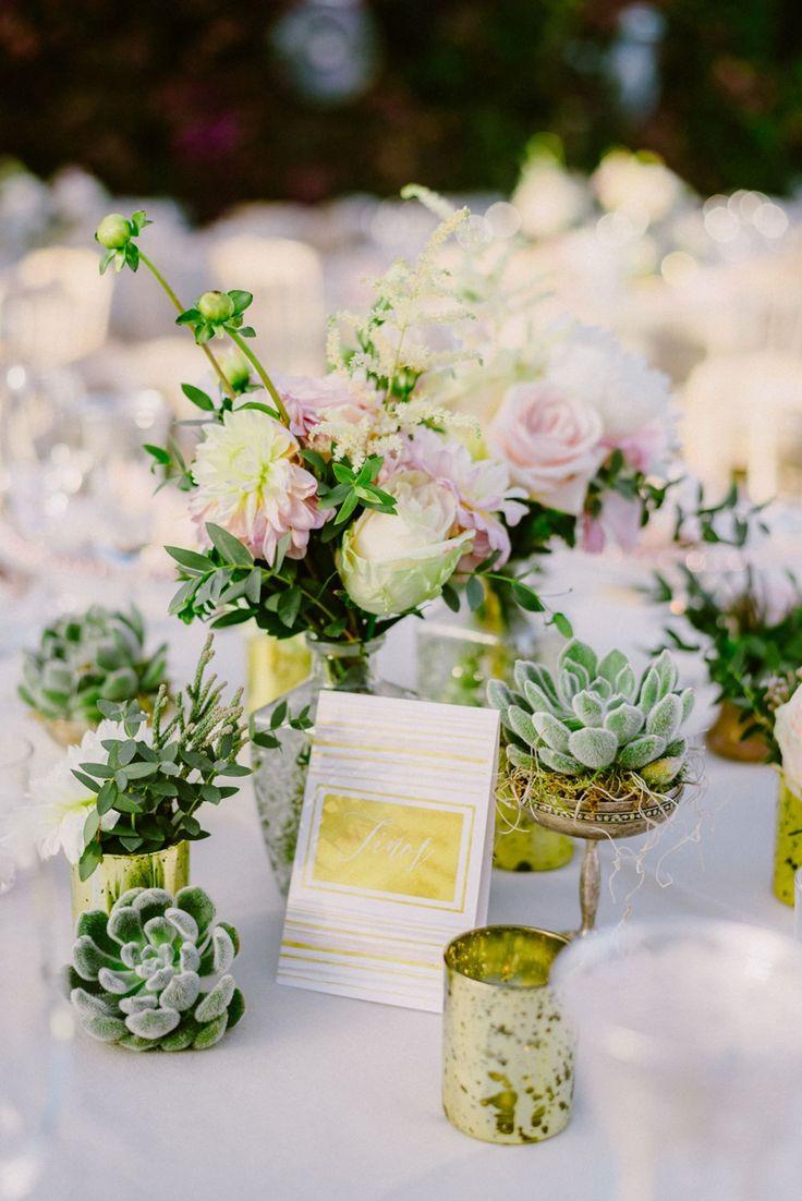 Blush and gold table decorations | succulents  | Lebanese Wedding Athenian Riviera | Elegant Wedding | Luxury Weddings | Greek Island Weddings | Destination Wedding