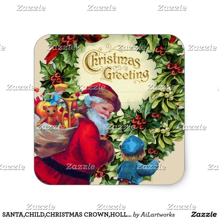 SANTA,CHILD,CHRISTMAS CROWN,HOLLYBERRY,MISTLETOES SQUARE STICKER #xmas #vintage #hollyberries #decor #crowns