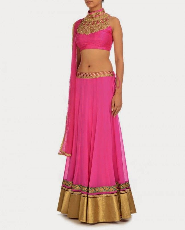 Ginni Singh 2014 Collection Neon Pink #Lehenga & #Blouse.