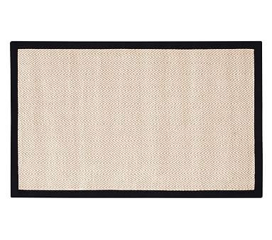 Chenille Jute Thick Solid Border Rug, 9x12 Feet, Black