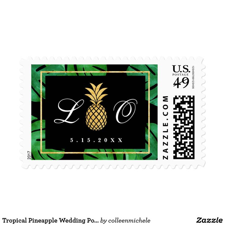 Tropical Pineapple Wedding Postage, Black and Gold Postage Tropical Pineapple Wedding Postage Stamps in black and gold, part of our tropical pineapple wedding stationery collection. Featuring watercolor tropical leaves in the background with faux gold foil accents.