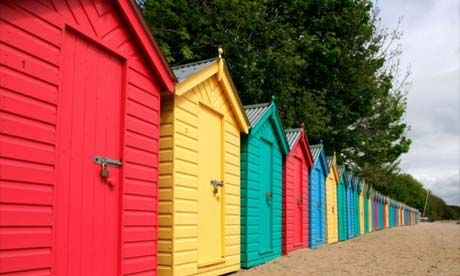 painted beach huts at Llanbedrog