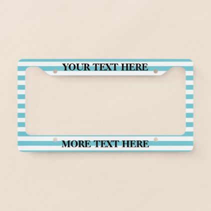 #stripes - #Turquoise blue striped custom license plate frame