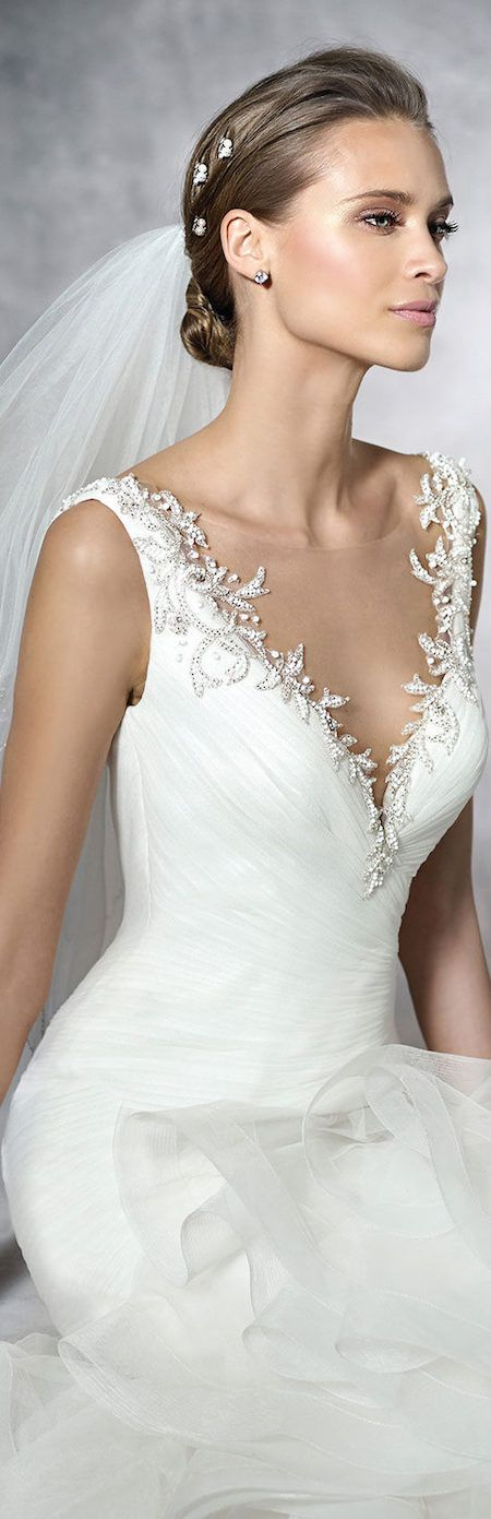 PRONOVIAS PRECIOUS wedding dress pinned by wedding accessories and gifts specialists http://destinationweddingboutique.com