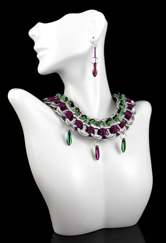 Matching Set. Recycled Pop Tab Necklace with Satin / Beaded Ribbons  Daggers, Royal Purple, Fuscia, Emerald Green - Niobium Earrings