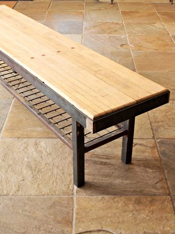 perfect strike: reclaimed wood from a bowling alley . . . love this as a kitchen island.