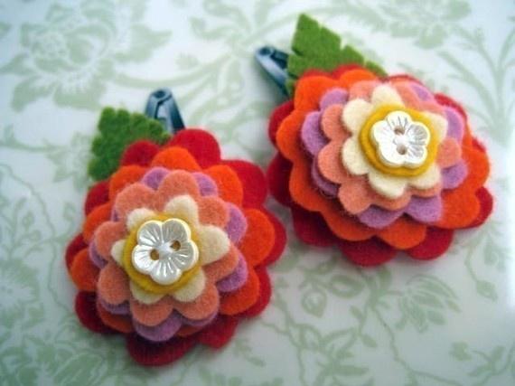 Stacked flower hair clips.Stacked Flower, Hair Pretty, Fabrics Flower ...