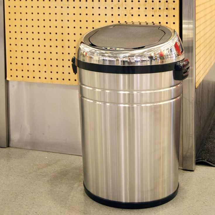 Stainless Steel Kitchen Garbage Can: ITouchless IT18RC Trashcan NX Stainless Steel Trash Can