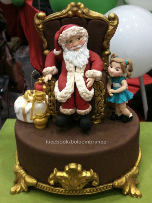 Santa and the girl - by Bolo em Branco [by Margarida Duarte] @ CakesDecor.com - cake decorating website