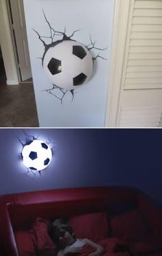 Creative Wall Light..  This 3D Deco Light of a soccer ball comes with this really cool sticker of cracks that goes around the ball so it looks like the ball was smashed into the wall.
