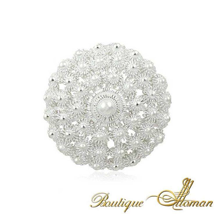 Silver Fligree Lace Brooch - Ottoman Silver Jewelry #brooch #brooches #silverbrooches