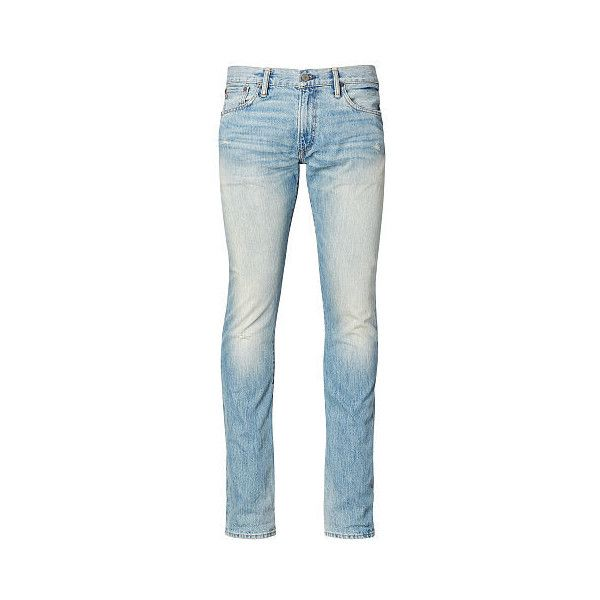 Polo Ralph Lauren Varick Slim Straight Jean (105 CAD) ❤ liked on Polyvore featuring men's fashion, men's clothing, men's jeans, mens embroidered jeans, mens zipper jeans, mens slim jeans, mens light wash jeans and mens slim fit jeans
