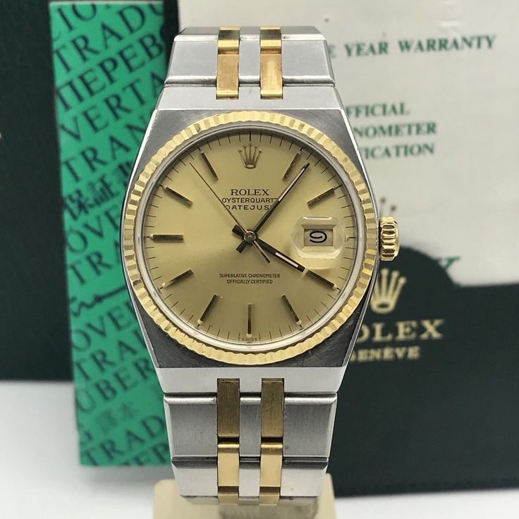 Vintage Rolex DateJust 17013 Oyster quartz 2tone Unpolished With box & Papers  | eBay