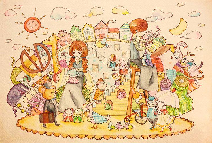 「ぬいぐるみタウン」水彩イラスト Illustration:Shoko.h