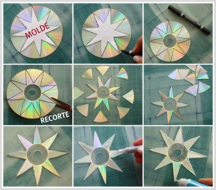 Decoração Estrela feita com CD