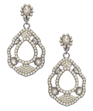 Carolee Silver Crystal and Pearl Teardrop Earrings #maxandchloe