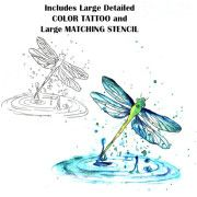 dragonfly watercolor instruction   tattoo stencil - temporary tattoo