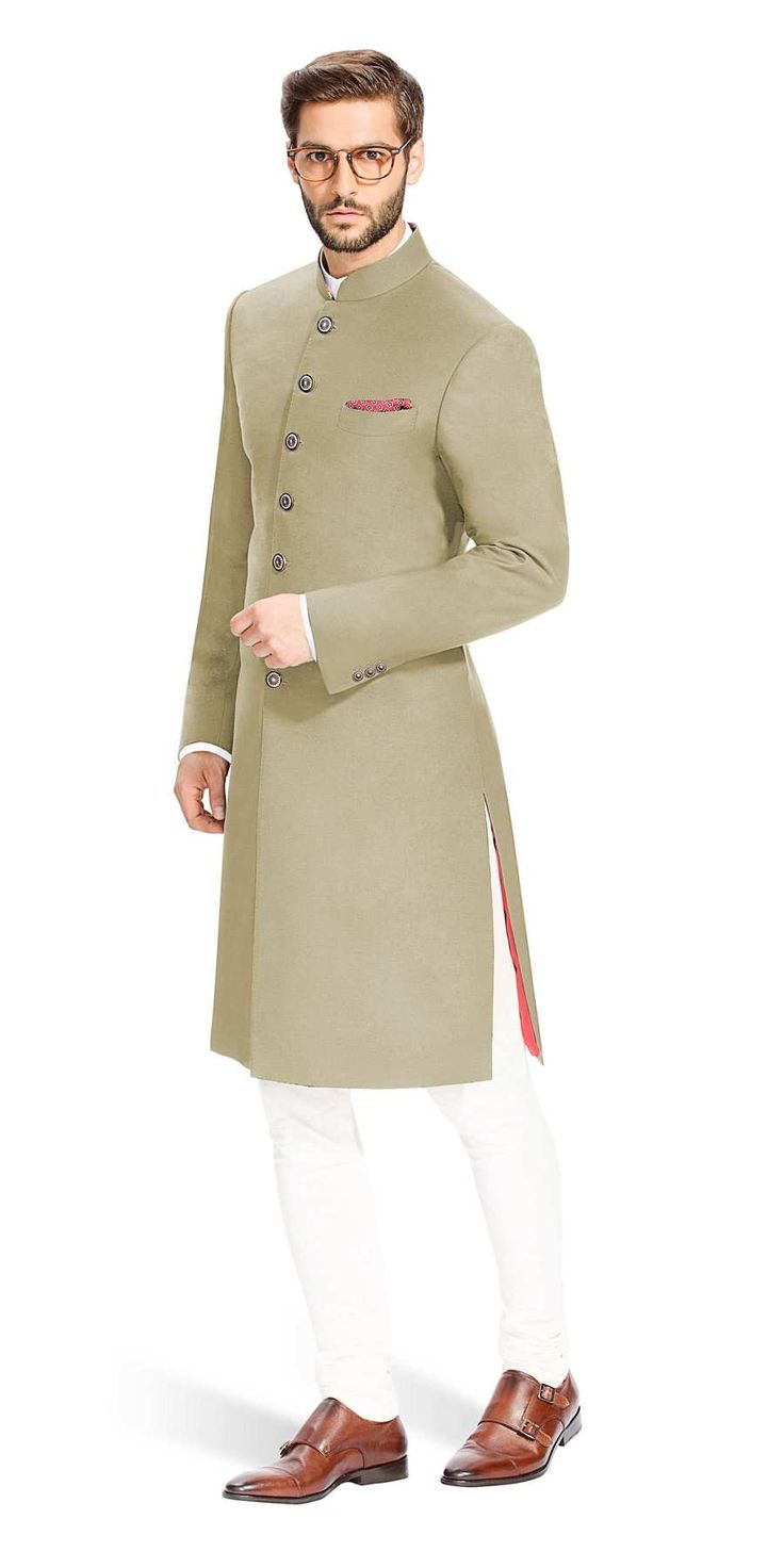 Gurhkan Khaki Brown This Khaki Brown Achkan is distinguished by its cut and is designed to be comfortable and elegant. It is made with the finest Italian fabrics from Vitale Barberis Canonico.