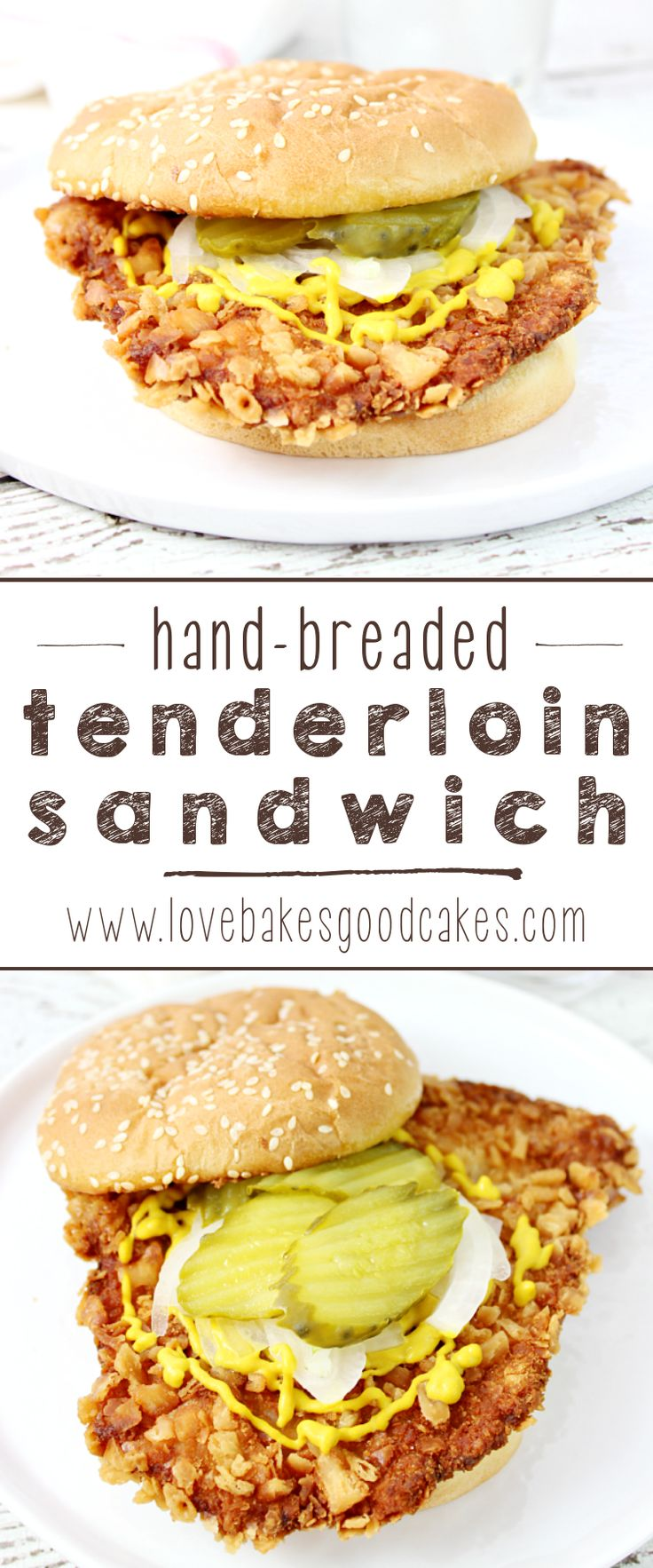 A Midwest favorite! This Hand-Breaded Tenderloin Sandwich is fried until golden brown, then topped the traditional way with mustard, pickles and onions! You have to try this sandwich!!