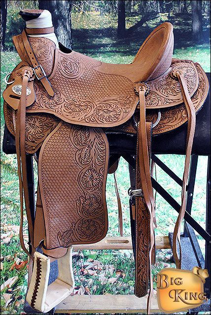 "WD076-16"" HILASON LEATHER WESTERN BIG KING WADE RANCH ROPING HIGH BACK SADDLE-SR"
