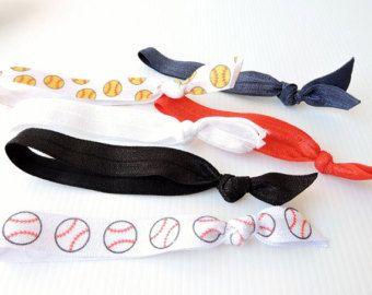 MIX AND MATCH - You choose your set of 3 - Baseball hair ties, Softball hair ties, Netball hair ties, snagless hair ties, set 3 , team set