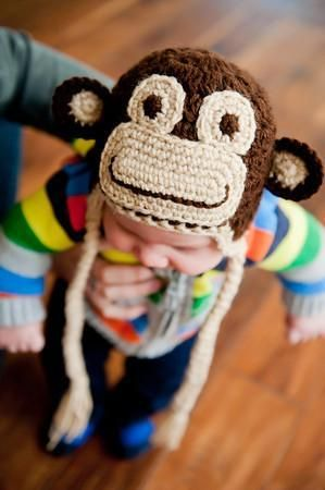 Crochet Monkey Hat. Pattern $3.99 on Craftsy. Bah, yet another pattern which I had hoped would be free but maybe some of you crafty people will be able to figure it out something SIMILAR by looking at it. :(