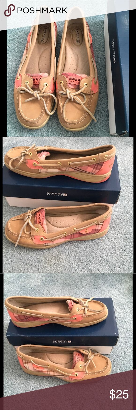 Sperry Top Sider Angelfish Linen Sperry Top Sider Angelfish Linen in Peach Plaid. Size 8M. EUC; worn 3 times. Sperry Top-Sider Shoes