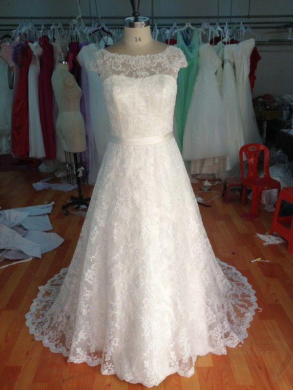 Style #ebb15152-229 Solid Lace Wedding Gown for Plus Size Brides