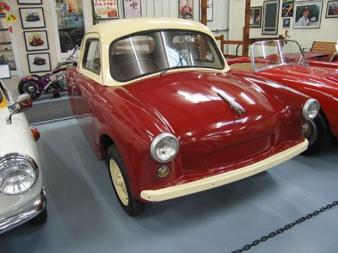 """1959 Opperman Unicar. The first model from Opperman was the Model """"T"""" Unicar. It looked like a larger sedan in miniature and was the cheapest car shown at the 1956 London Motor Show."""