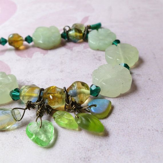 Pale green new jade flowers bracelet with glass by planettreasures