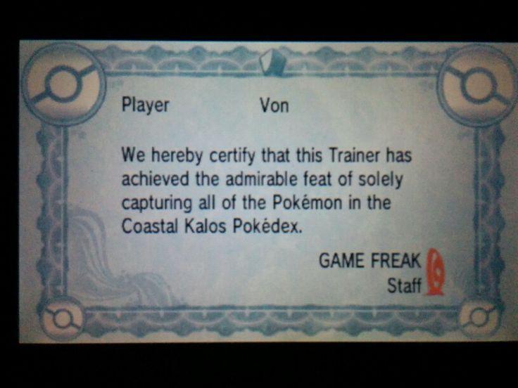 My Coastal Kalos Pokedex Certificate