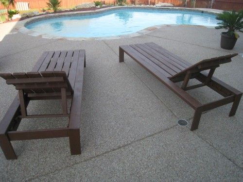 DIY outdoor lounge chairs... would make some modifications so they're more like http://www.worldmarket.com/product/catalina-pool-lounger-with-tray.do?=fn
