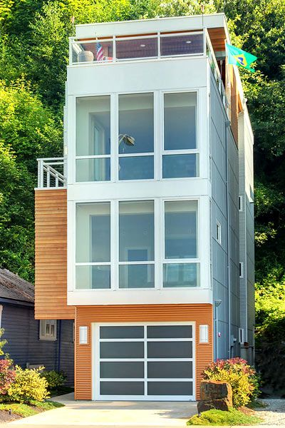 Not a tiny home, but small. Three stories of single-car-garage-sized stacked home in Seattle.