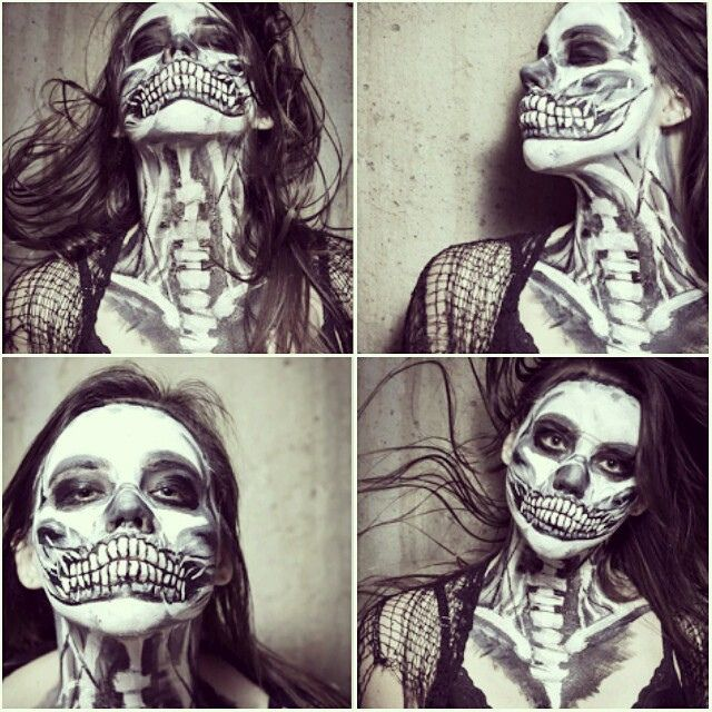 self portrait face painting skeleton halloween www.ellewood.com