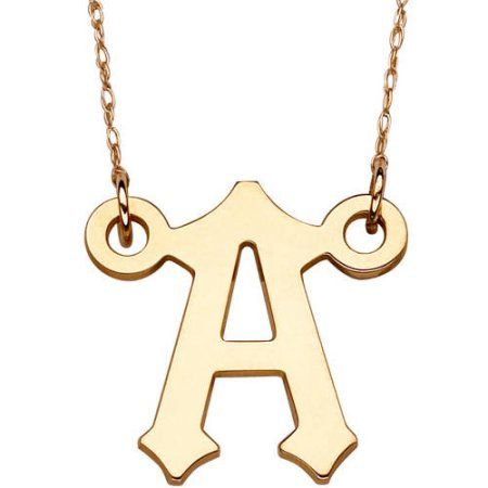 10kt Gold Initial Pendant Necklace, 20 inch, Select Letter, Women's