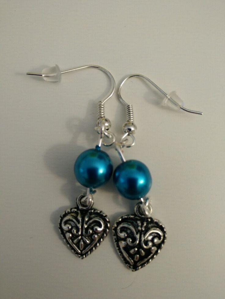 Boucles d'oreille perle bleue et coeur #diy #french #earring
