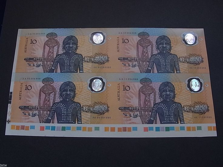 $ 10 Bicentenary - Uncut Block of 4 with date overprint Johnston/Fraser Trafic L