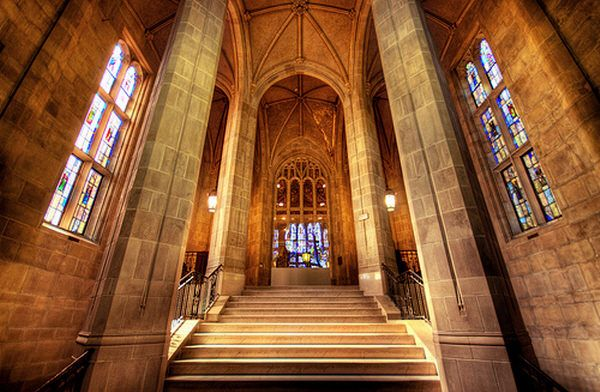 Stairs up to the Bapst Library at Boston College ( richietown )