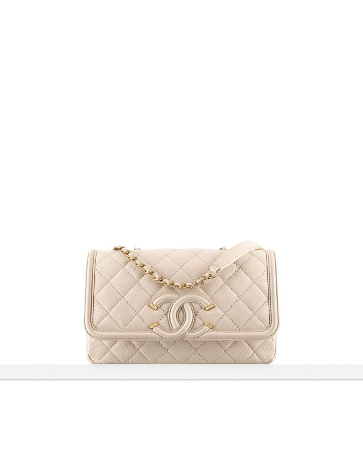 Spring-Summer 2016 - Chanel flap bag tweed & grained calfskin-black & beige