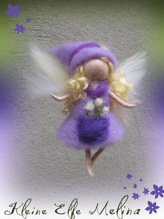 Melina  Needle Felted Wool  fairy girl  Flower por LivelySheep
