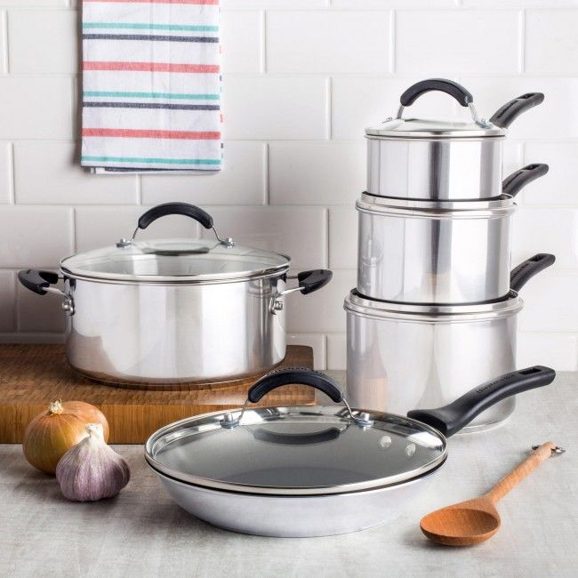 Cooking fine food is so much easier when you have good tools. This KitchenAid Gourmet Cookware Combo features stainless steel construction with an aluminum base that ensures even heating. The double riveted, stay cool handles are durable and oven safe up to 350F.
