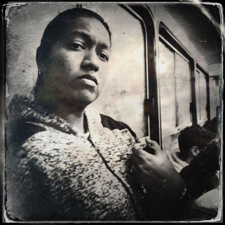Woman on the bus #TinType #BlackAndWhite #StreetPhotography #street #portrait #blackandwhiteportrait