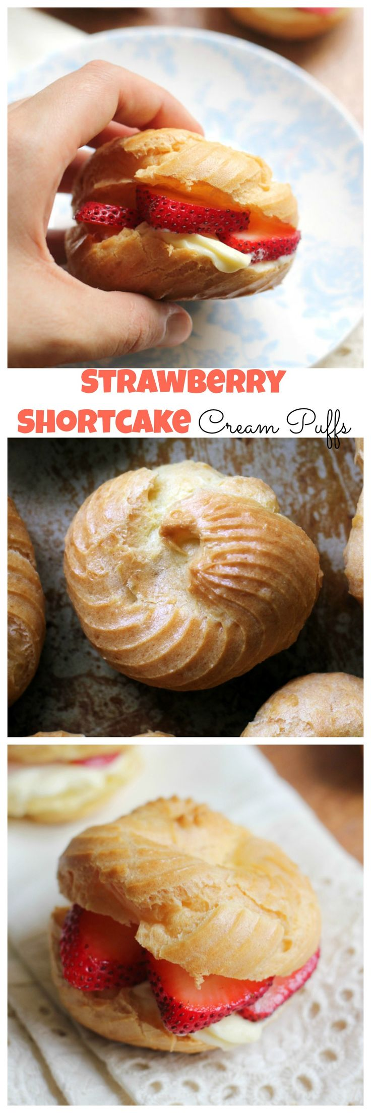 Strawberry shortcake cream puffs filled with a rich French pastry cream and juicy strawberry slices.