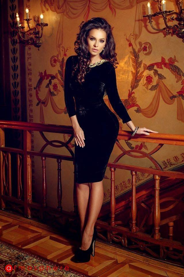 Tea Length Black Velvet Dress