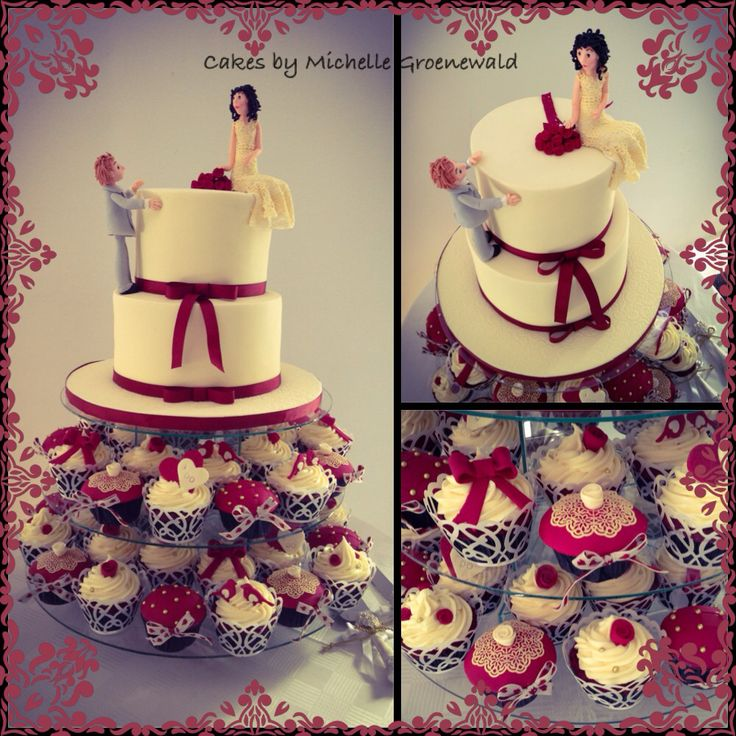 Wedding cake and cupcakes with bride and groom figurines