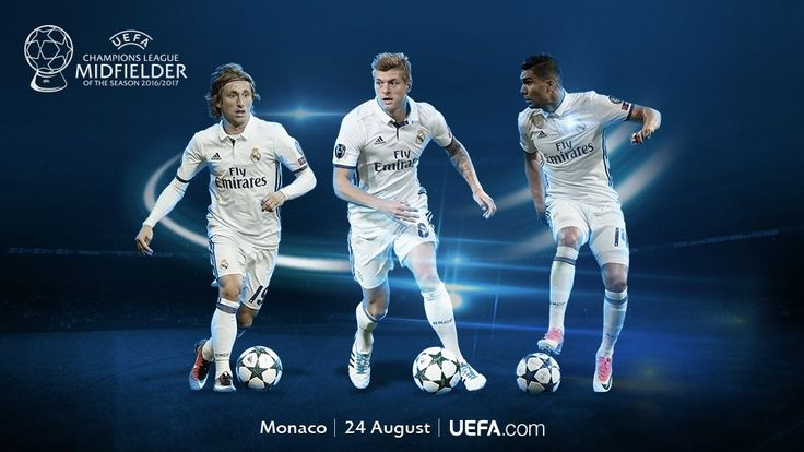 Casemiro Luka Modric and Toni Kroos named on the shortlist for the Best Midfielder in Europe 2016/17