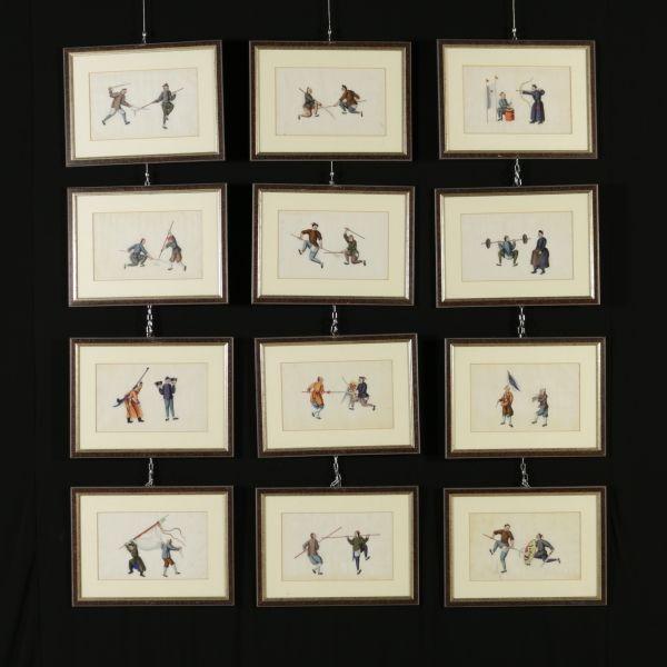 Oli su carta di riso. Vi sono raffigurate scene di attività sportive e di combattimento a coppie di personaggi. In cornici.